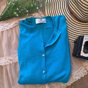 Ballantyne Bright Blue Silk Cotton Cardi Cardigan